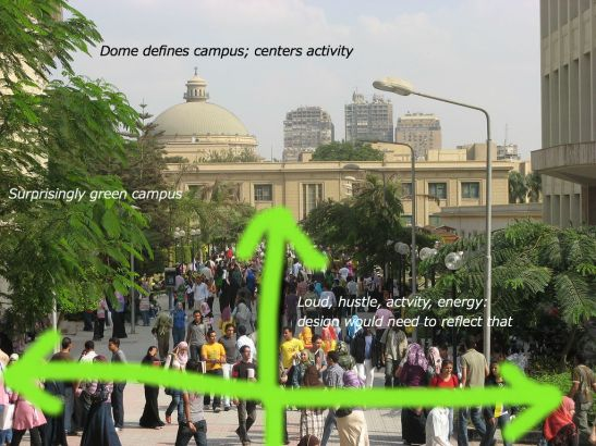 Cairo University with some preliminary sketches and notes