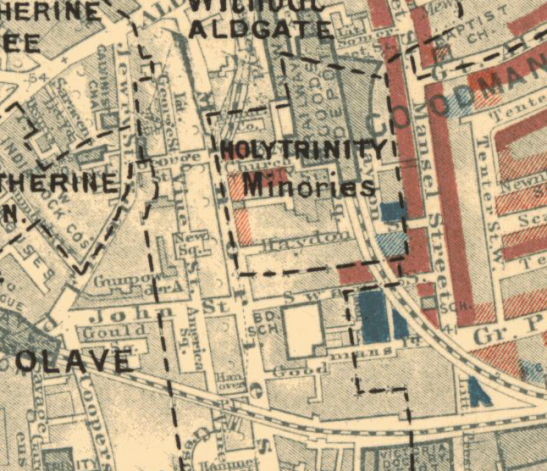 Close up of my neighborhood (Minories) on Booth's London Poverty Map