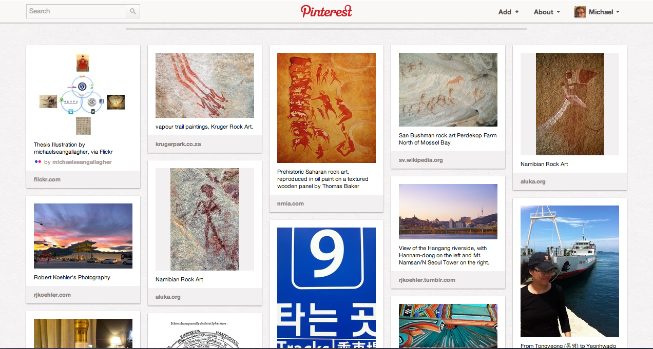 My Pinterest design page, images evoking some attributes to capture for an organization