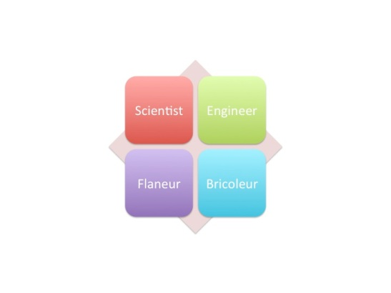 Scientist (or hypothesizing) is to engineer as flaneur is to bricoleur (tinkering)